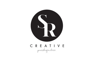 SR Letter Logo Design with Black Circle and Serif Font.