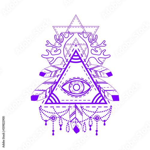 All Seeing Eye Pyramid Symbol Old School Tattoo Mystic Sign Of