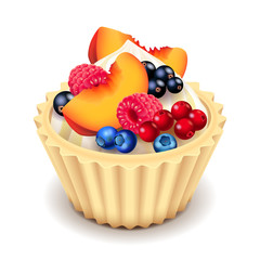 Fruit cupcake isolated on white vector