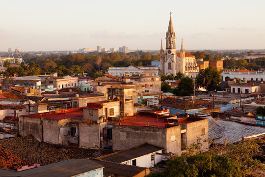 Cuba / Camaguey (UNESCO World Heritage Centre) from above at sunset
