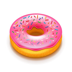 Pink donut isolated on white vector