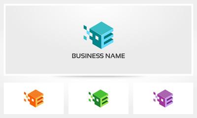 Alphabet E Letter Block Pixel Cube Logo