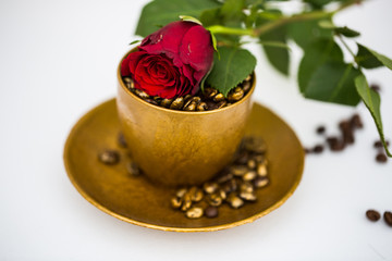 Coffee cup with rose, for birthday, valentine, romantic