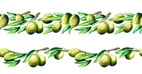 Olive branch border. Watercolor