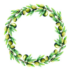 Olive wreath. Watercolor background