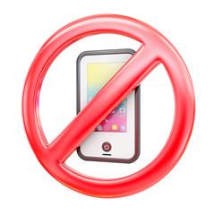 Cell phones forbidden icon, 3d rendering