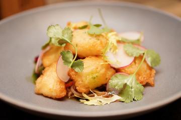 Fish tempura in grey plate