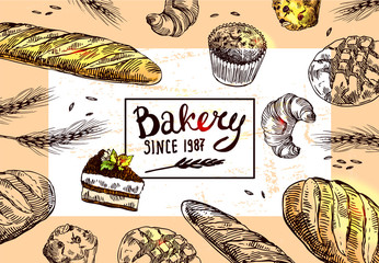 Hand drawn vector illustration bakery.
