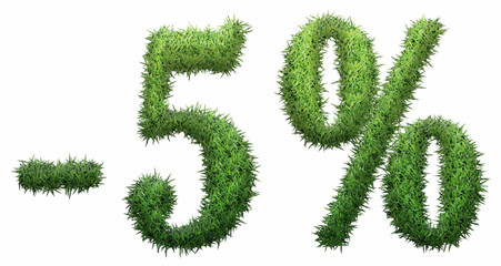 -5% sign, made of grass.
