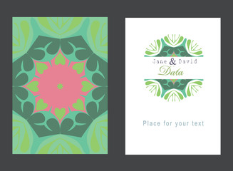 Example of wedding invitations. Vintage decorative elements. Vector flower mandala. Oriental pattern, illustration. Indian, Spain, mystic, nature, Arabic, Islam, Moroccan, Spain.