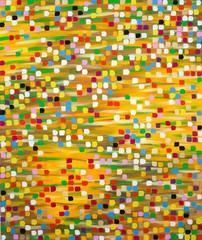 Orange-grün-gelb-brauner Hintergrund mit bunten Punkten / Kästchen in Blau, Violett, Grün, Gelb, Weiß, Schwarz, Rot, Rosa, Orange, Gold und Türkis, Gouache von Carola Vahldiek
