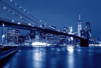Printed kitchen splashbacks Brooklyn Bridge Brooklyn Bridge at night, New York, USA