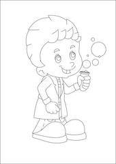 cartoon child standing having fun with science isolated coloring page