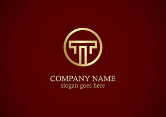 gold round letter t company logo