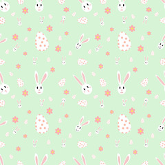 Easter seamless pattern with flowers,rabbit and holiday eggs.Perfect for wallpaper, gift paper, pattern fills, web page background, spring and Easter greeting cards.