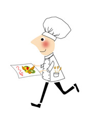 cuoco che cammina portando un vassoio