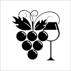 glass of wine with grape icon