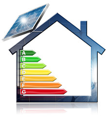 Energy Efficiency - Symbol in the shape of house with energy efficiency rating and a solar panel