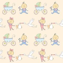 Seamless pattern with newborn babies,pram and stork
