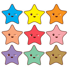 Group of cute colorful stars cartoon design isolated on white background, flat design vector illustration