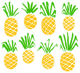 Set with pineapples. Vector isolated fruits
