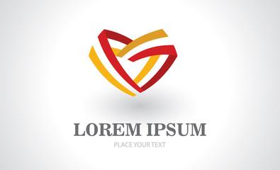love ribbon abstract logo