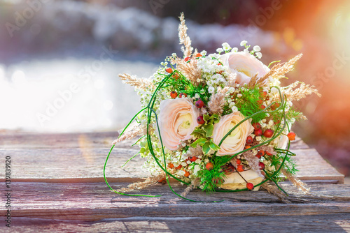 Vintage Strauss Brautstrauss Hochzeit Heirat Boho Stock Photo