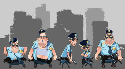 cartoon group of diverse men in police uniforms with guns