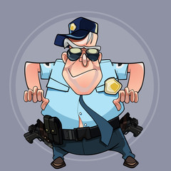 cartoon man in a police uniform wants to seize