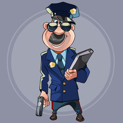 cartoon man in police uniform with guns and a folder in his hands