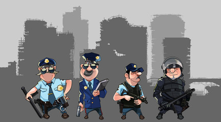 cartoon men in police uniforms and form of special forces with weapons