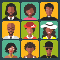 Vector set of different african american women and man app icons in trendy flat style.
