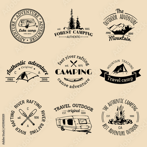 Vector set of vintage camping logos  Retro signs collection