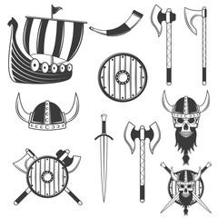 Set of black viking elements isolated on white background