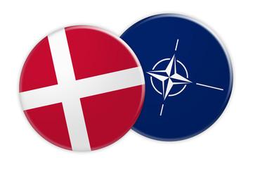 Politics News Concept: Denmark Flag Button On NATO Flag Button, 3d illustration on white background