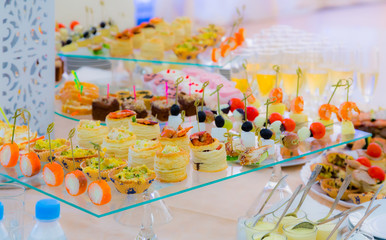 Delicacies and snacks in the buffet. Champagne. Seafood. A gala reception. Banquet. Catering.