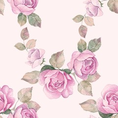 Hand drawn watercolor floral seamless pattern. Vintage flowers 3
