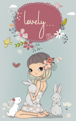 cute girl with white hares