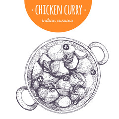Chicken curry top view vector illustration. Indian cuisine. Linear graphic.