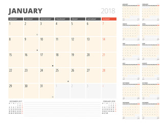 Calendar Planner for 2018 Year. Design Template. Week Starts on Monday. Set of 12 Months. Phases of the Moon