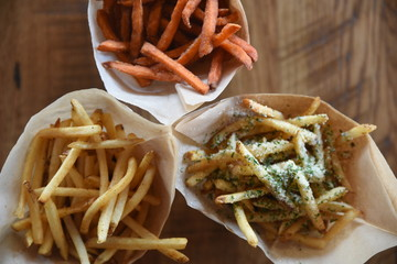 Overhead view of a selection of fries