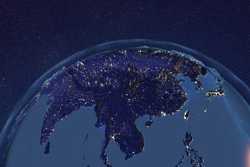 Planet Earth from space showing Asia in night with enhanced bump, 3D illustration, Elements of this image furnished by NASA