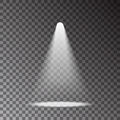Scene with light ray isolated on transparent background. Spotlight effect. Vector illustration.