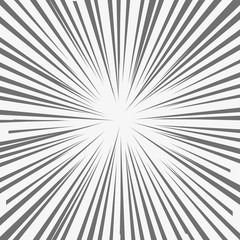 Abstract comic book flash explosion, radial lines background. Vector illustration for superhero design. Bright black white light strip burst. Flash ray.