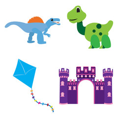 Set of toys on a white background, Vector illustration