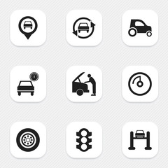 Set Of 9 Editable Car Icons. Includes Symbols Such As Auto Service, Tuning Auto, Pointer And More. Can Be Used For Web, Mobile, UI And Infographic Design.