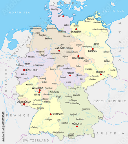 Rivers Of Germany Map.Map Of Germany With Cities Provinces And Rivers In Pastel Colors