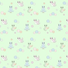 Pattern with owls, pastel colors stock vector illustration