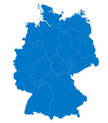 Map of Germany with provinces in blue color