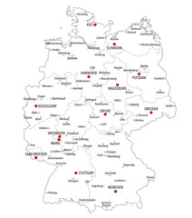 Map of Germany with cities and provinces in white color